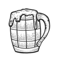 beer drink in mug cup sketch vector image