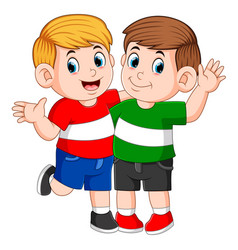 best children friends standing with hand vector image