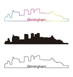 Birmingham skyline linear style with rainbow vector