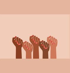 Black fist people brown power black history vector