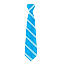 blue striped tie icon flat style vector image
