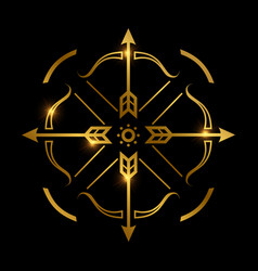 Bow and arrows on black background archery emblem vector