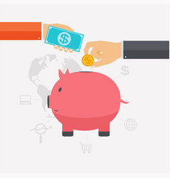 business hand saving money and coins vector image