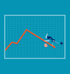 Businesswoman falling down a red arrow on a chart vector