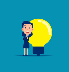 businesswoman with big light bulb business idea vector image
