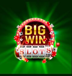 Casino slots big win 777 signboard vector