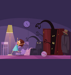 Childhood nightmares background vector