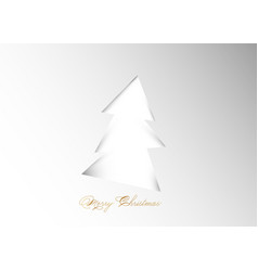 christmas tree on white background in paper cut vector image