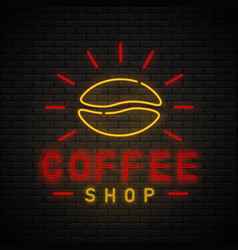 coffee shop neon vector image