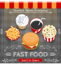 Colorful Fast Food Menu Poster vector image