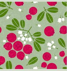 cowberry seamless pattern leaves flowers shabby vector image