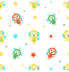 cute funny robots seamless pattern friendly alien vector image