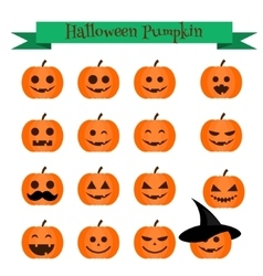 Cute halloween pumpkin emoji icons set Emoticons vector image