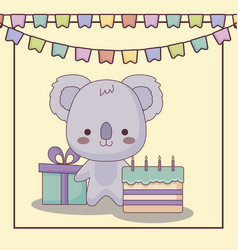 cute koala happy birthday card with cake and icons vector image