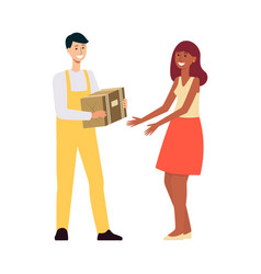 Delivery man in overalls giving brown box to woman vector