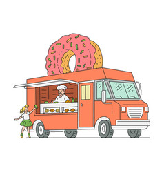 donut food truck drawing with vendor man in chef vector image