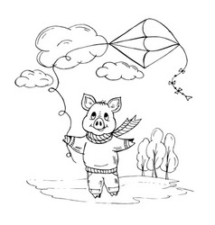 doodle piggy playing with a kite on street vector image