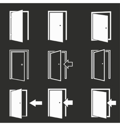 Door icon set vector image