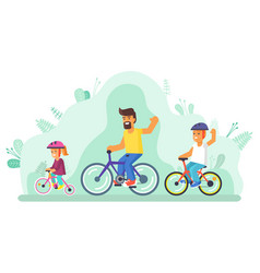 Father with two children riding bicycle vector