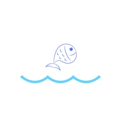 Fish jumping over waves vector image