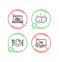 food smile and online delivery icons set seo vector image