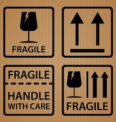 Fragile shipping label symbol on brown cardboard vector