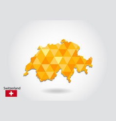 Geometric polygonal style map of switzerland low vector