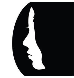 girl face beauty in black and white color vector image