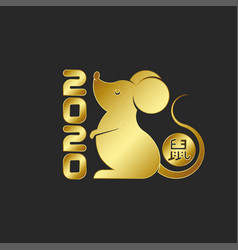 Gold rat is symbol 2020 logo chinese new vector