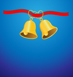 Golden wedding bell and red ribbon background vector