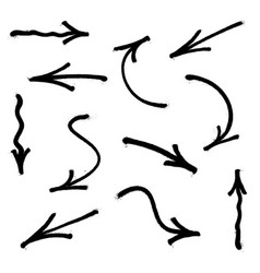 graffiti arrows set with overspray in black over vector image