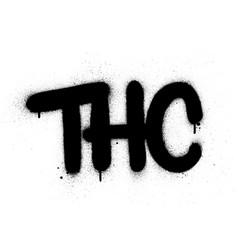 Graffiti thc abbreviation sprayed in black over vector