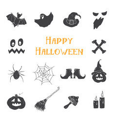 halloween icons set hand drawn design elements vector image