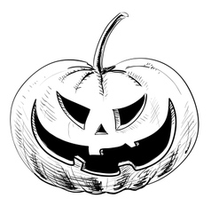 Halloween pumpkin with evil scary smile vector image