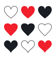 hand drawn hearts postcard decoration vector image