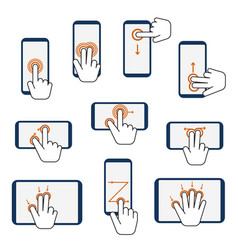 hand touchscreen gestures device icon set vector image