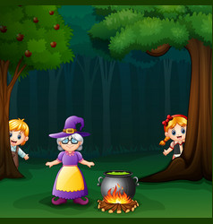 Hansel and gretel in forest with witch vector