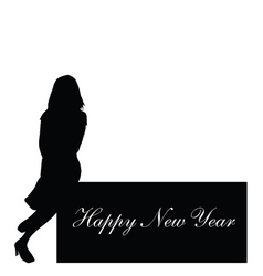 happy new year with girl vector image