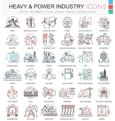 Heavy and Power industry color line outline vector