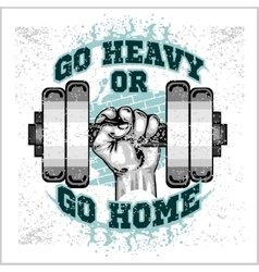 Heavy dumbbell in hand Grunge style vector