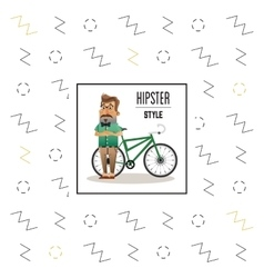 Hipster man cartoon with bike design vector