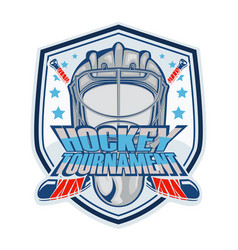 hockey helmet emblem vector image