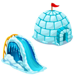 Ice house igloo and children slide vector