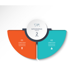 Infographic semi circle template with 2 options vector