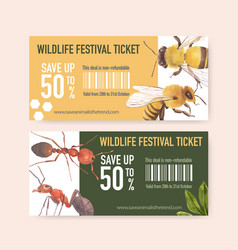 Insect and bird ticket design with bee ant vector
