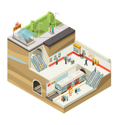 Isometric underground station concept vector