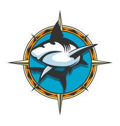 Jumping shark colorful emblem vector
