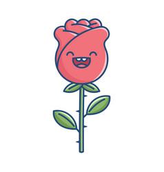 Kawaii smiling rose flower vector
