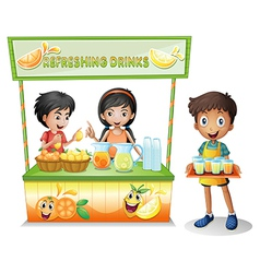 Kids at stall selling refreshing drinks vector