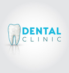 logo for dental clinic with polygonal tooth vector image